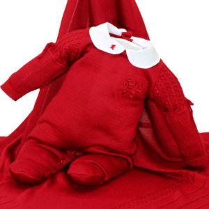 Saída de Maternidade Fofinho Luana Tricô Luxo Vermelho