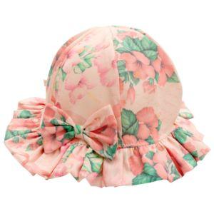 Chapéu Infantil Fofinho Carolina com Laço Floral Rosa Marfim