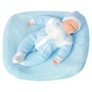 Saída de Maternidade Tamine 3 Peças Tricô Especial Azul Bebê Conjunto