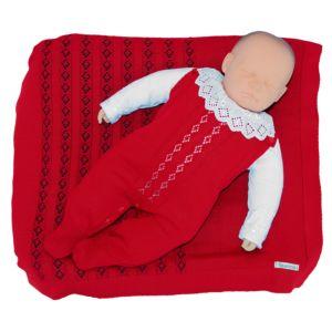 Saída de Maternidade Tamine 3 Peças Tricô Antonella Vermelho