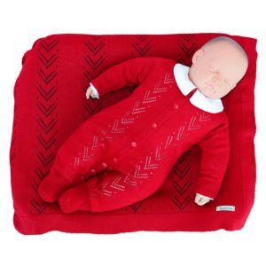 Saída de Maternidade Tamine 3 Peças Tricô Yuri Vermelho