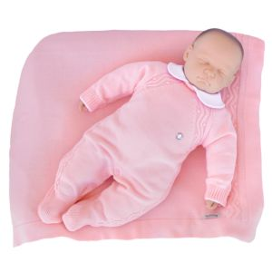 Saída de Maternidade Tamine 3 Peças Tricô Bolotas Rosa Bebê