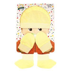 Kit Touca, Luvas e Sapatinho Tamine Suedine Amarelo Embalagem