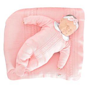 Saída de Maternidade Tamine 3 Peças Tricô Trança Rosa Bebê