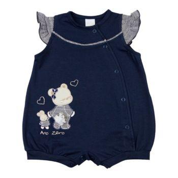 Macacão Curto Ano Zero Cotton Bordado Ursinha Azul Marinho