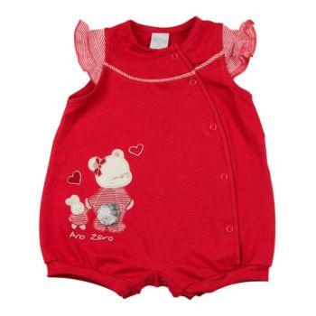 Macacão Curto Ano Zero Cotton Bordado Ursinha Vermelho