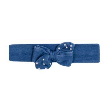 Faixa de Cabelo para Bebê Paraiso Malha Denin Luxo Jeans