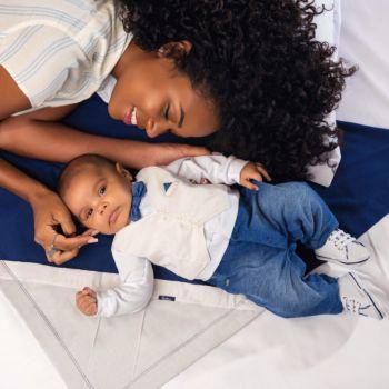 Saída de Maternidade Paraiso com Malha Denim Azul Escuro