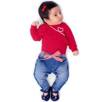 Conjunto Infantil Paraiso Baby 2 Peças Coração Vermelho