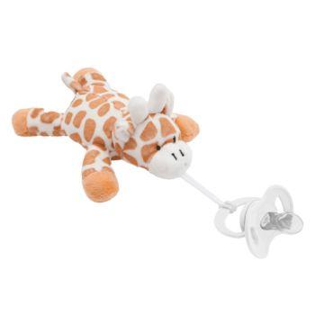 Prendedor de Chupeta Buba Pelúcia Minha Girafinha Marrom