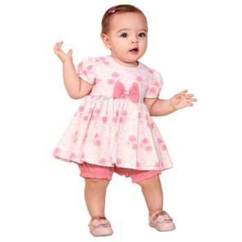Macacão Curto Fofinho Menina Antonella com Laço Rosa Modelo