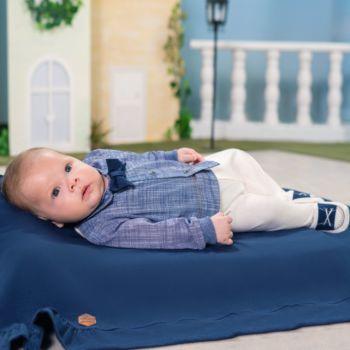 Saída de Maternidade Sonho Mágico Vintage Malha Azul Marinho