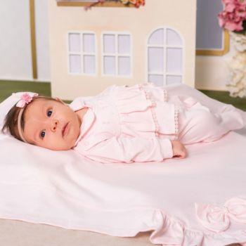 Saída de Maternidade Sonho Mágico Moon Malha Rosa Claro