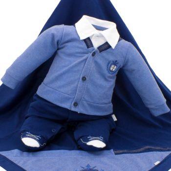 Saída de Maternidade Paraiso Piquet Denim com Bordados Azul