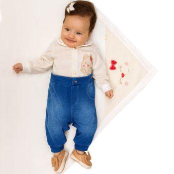 Saída de Maternidade Paraiso Malhas Tricô e Denim Off White