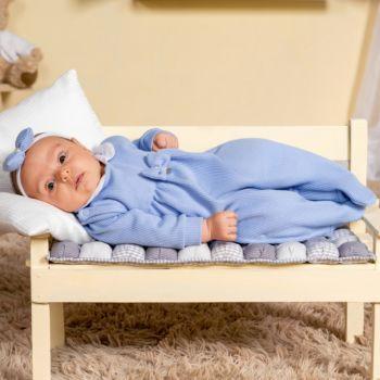Macacão Longo Sonho Mágico Flowers Malha Azul Bebê
