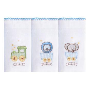 Kit 3 Babetes Papi 40 x 40cm Bordadas Safari Azul