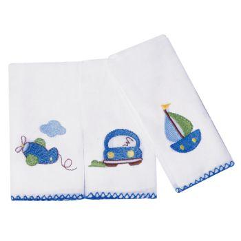 Kit 3 Babetes Papi 32x32cm Bordadas Barquinho Azul