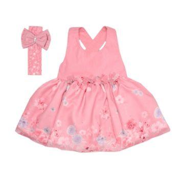 Vestido para Festa Rosa Floral com Tiara Luxo Sonho Mágico