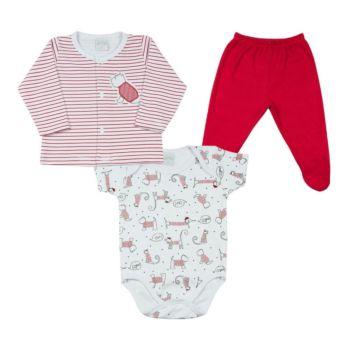 Conjunto Bebê Ano Zero Body Casaco Calça Cachorrinhos Branco