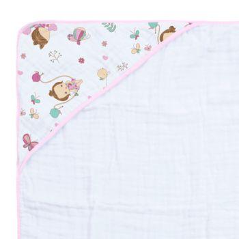 Toalha de Banho Papi Soft Especial Capuz Borboletas Rosa