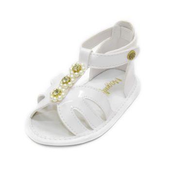 Sandália para Bebê Maguilu Pérolas e Strass Branco