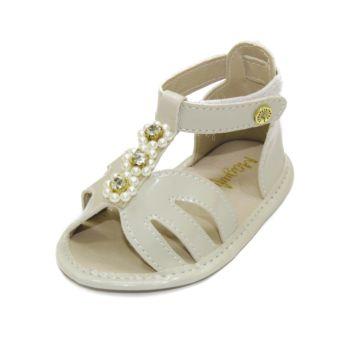Sandália para Bebê Maguilu Pérolas e Strass Marfim