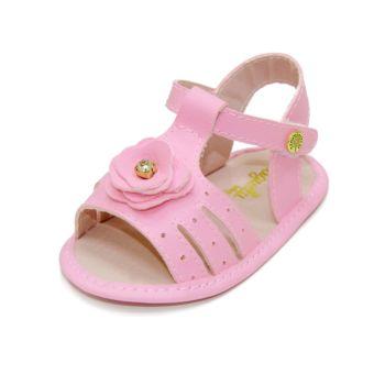 Sandália para Bebê Maguilu Floral com Strass Rosa Peonia