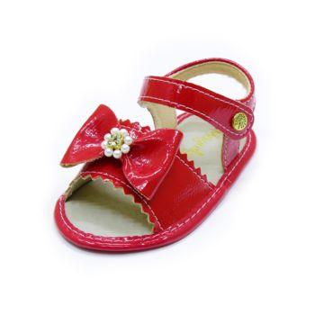 Sandália para Bebê Maguilu Laço Pérolas e Strass Vermelho