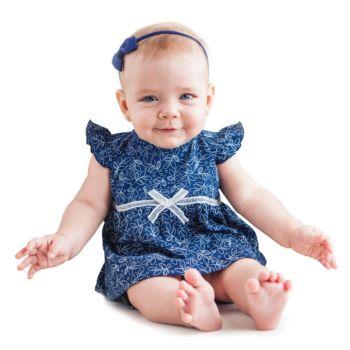 Conjunto Bebê Tilly Baby Vestido e Tapa Fralda Azul Marinho Modelo