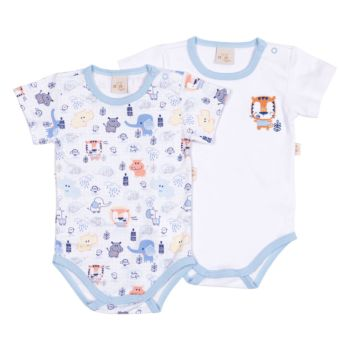 Kit 2 Bodies Anjos Baby Confort Suedine Safari Azul