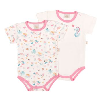 Kit 2 Bodies Anjos Baby Confort Suedine Fundo do Mar Rosa
