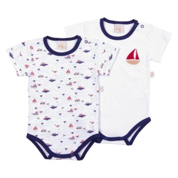 Kit 2 Bodies Anjos Baby Confort Suedine Marinheiro Azul