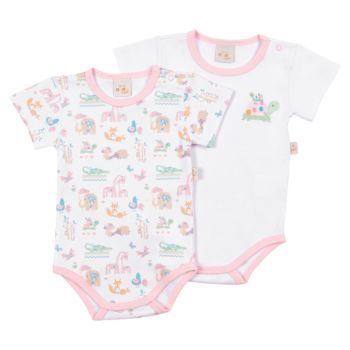 Kit 2 Bodies Anjos Baby Confort Suedine Safari Rosa