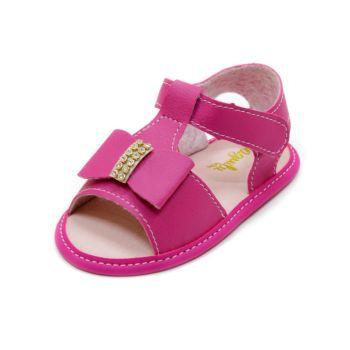 Sandália para Bebê Maguilu com Laço e Strass Rosa Pink