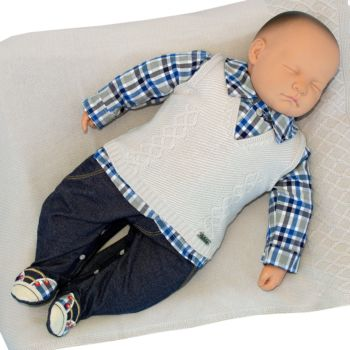 Saída de Maternidade Fofinho Masculina Jeremias Cinza