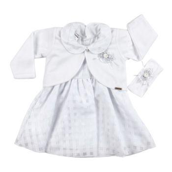 Vestido Batizado Fofinho Bianca Bolero e Tiara Luxo Branco