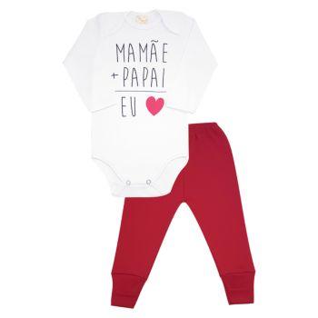 Conjunto Body e Calça Estilinho Suedine Coração Vermelho