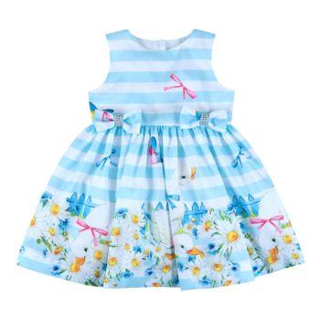 Vestido Infantil Essência Viva Listrado Delicate Azul Claro
