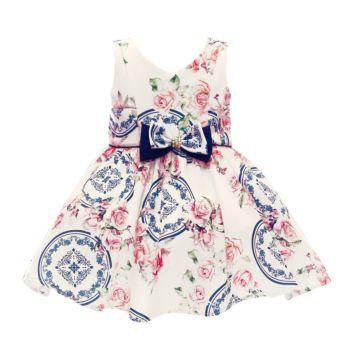 Vestido Para Festa Beth Bebê Luxo Floral Marina Azul Rosa