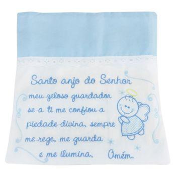 Toalha Fralda Bordada Azul Bebê Anjo Minasrey