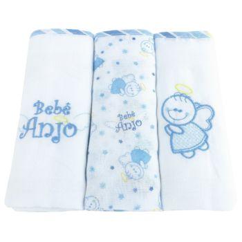 Kit 3 Fraldas Tecido Duplo Azul Bebê Anjo Minasrey