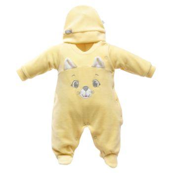 Macacão Longo e Touca Beth Bebê Plush Gatinho Amarelo