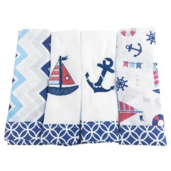 Fraldas de Boca Marinheiro Azul Marinho Chevron Loupiot