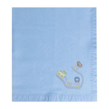 Cobertor Papi Flanelado 1,10 x 0,90m Bordado Safari Azul