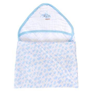 Toalha Banho Soft Minasrey Bordada Alvinha com Capuz Azul