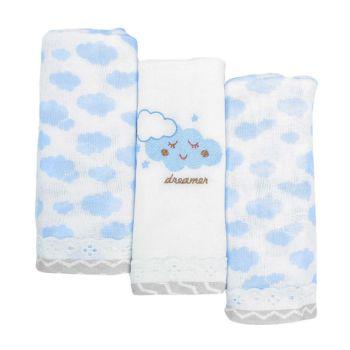Kit 3 Fraldas com Bainha Minasrey Alvinha Nuvens Azul