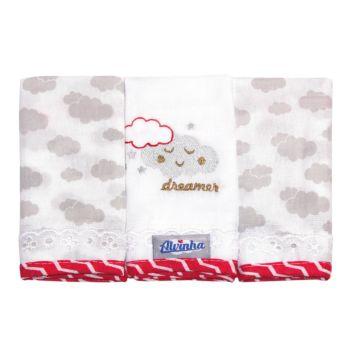 Kit 3 Fraldas de Boca Minasrey Alvinha Nuvens Cinza