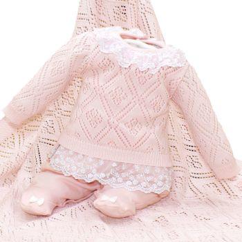 Saída De Maternidade Beth Bebê Maria Isabely Tricô Rosa