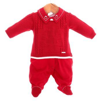 Macacão Longo Beth Bebê Menino Tricô Luxo Breno Vermelho